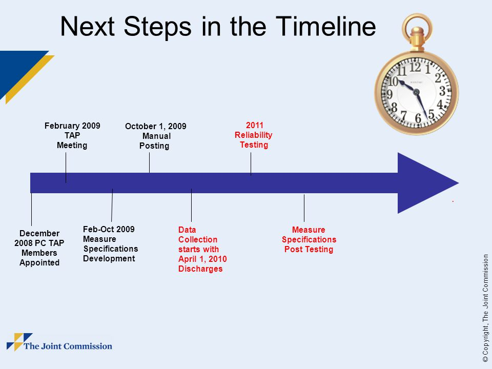 © Copyright, The Joint Commission Next Steps in the Timeline December 2008 PC TAP Members Appointed February 2009 TAP Meeting Feb-Oct 2009 Measure Specifications Development October 1, 2009 Manual Posting Data Collection starts with April 1, 2010 Discharges 2011 Reliability Testing.