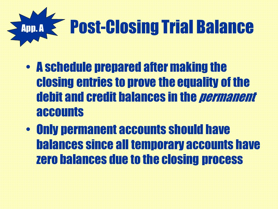 Post-Closing Trial Balance A schedule prepared after making the closing entries to prove the equality of the debit and credit balances in the permanen
