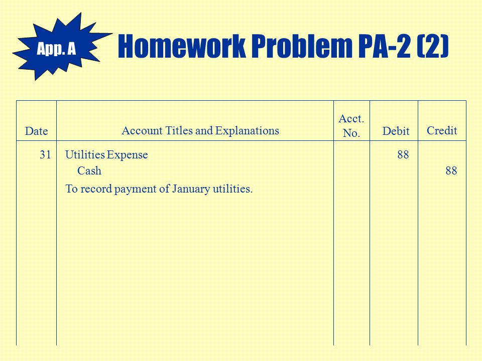 Homework Problem PA-2 (2) Date Account Titles and Explanations Acct. No. Debit Credit 31Utilities Expense88 Cash88 To record payment of January utilit