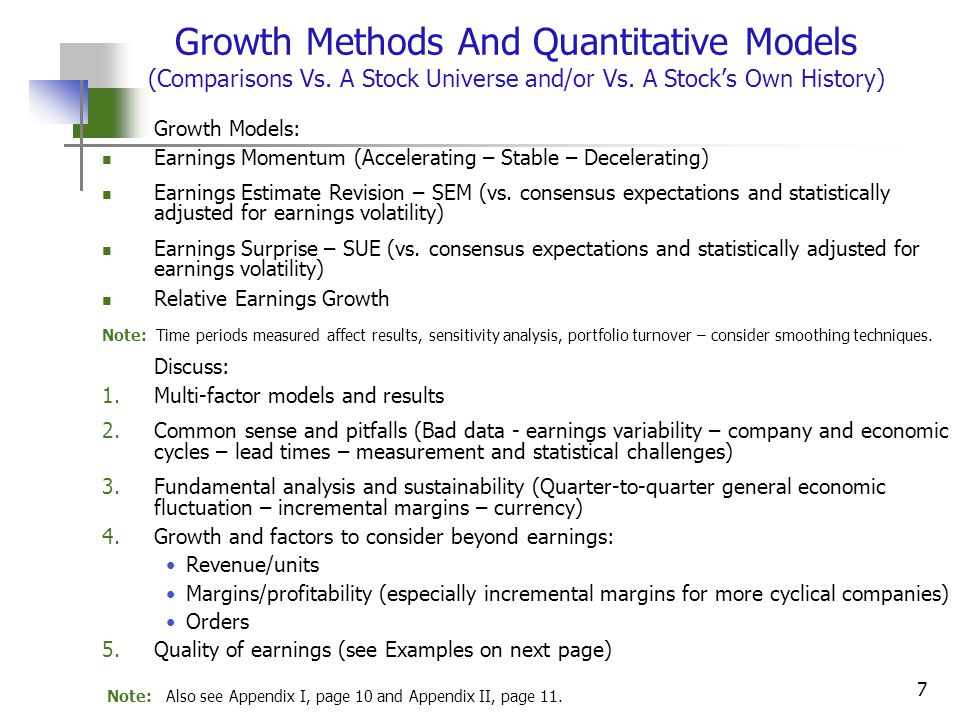 7 Growth Methods And Quantitative Models (Comparisons Vs.