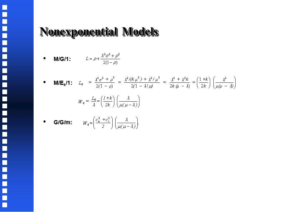 Finite Source Models Single server model: Single server model: Multiple server model: Multiple server model: ModelM/M/1/GD/N/NM/M/S/GD/N/N P0P0 1/[Σ N n=0 (λ n N!/(μ n (N-n)!)]1/[Σ S-1 n=0 (λ n N!)/(μ n n!(N-n)!)+Σ N n=S (λ n N!)/(μ n S!S n-S (N-n)!)] LN-μ(1-P 0 )/λL q +Σ S-1 n=0 nP n + S(1-Σ S-1 n=0 P n ) LqLq N-(λ+μ)(1-P 0 )/λΣ N n=S (n-S)P n WL/(λ(N-L)) WqWq L q /(λ(N-L))
