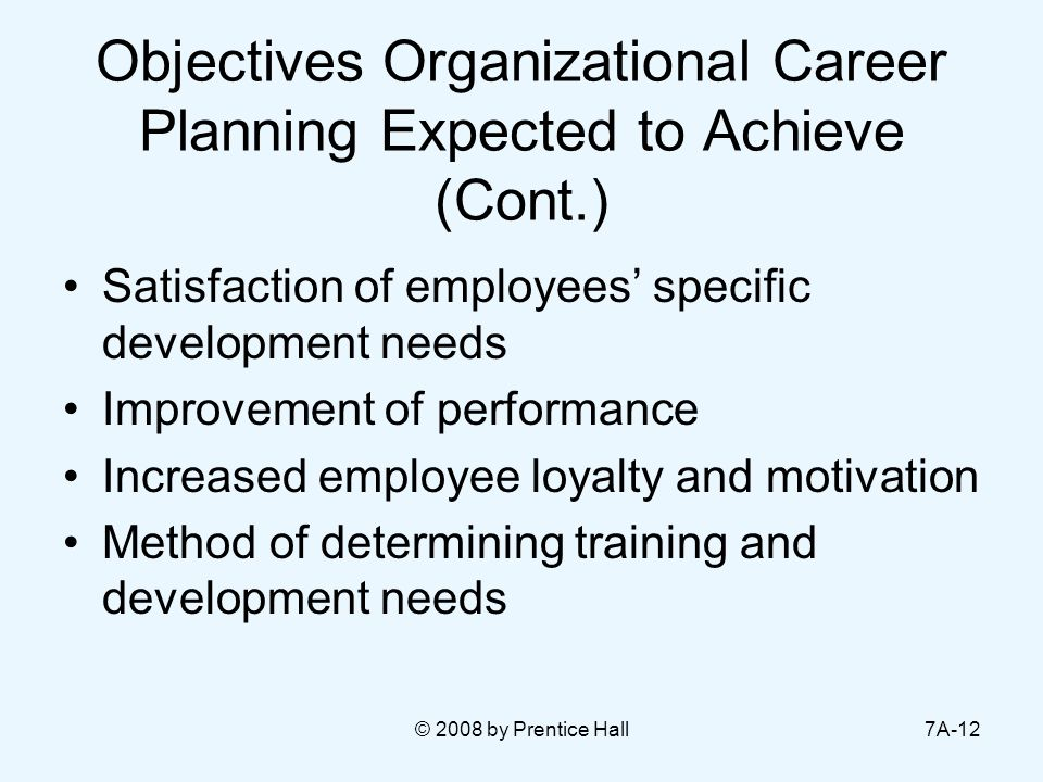 © 2008 by Prentice Hall7A-12 Objectives Organizational Career Planning Expected to Achieve (Cont.) Satisfaction of employees' specific development nee