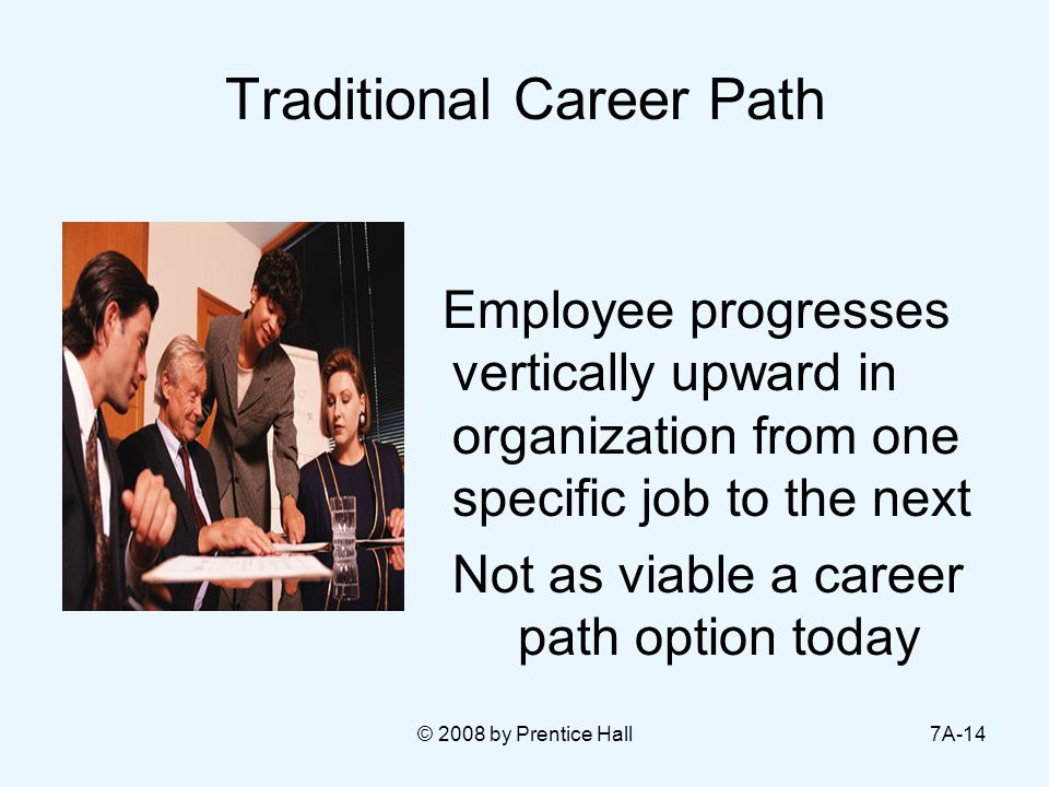 © 2008 by Prentice Hall7A-14 Traditional Career Path Employee progresses vertically upward in organization from one specific job to the next Not as vi