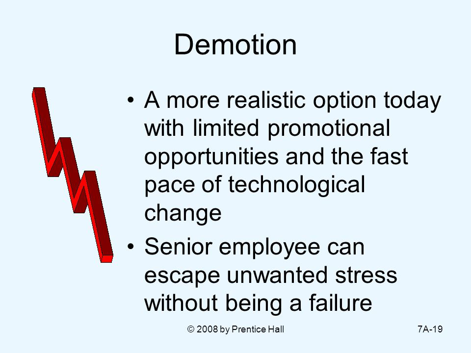 © 2008 by Prentice Hall7A-19 Demotion A more realistic option today with limited promotional opportunities and the fast pace of technological change Senior employee can escape unwanted stress without being a failure