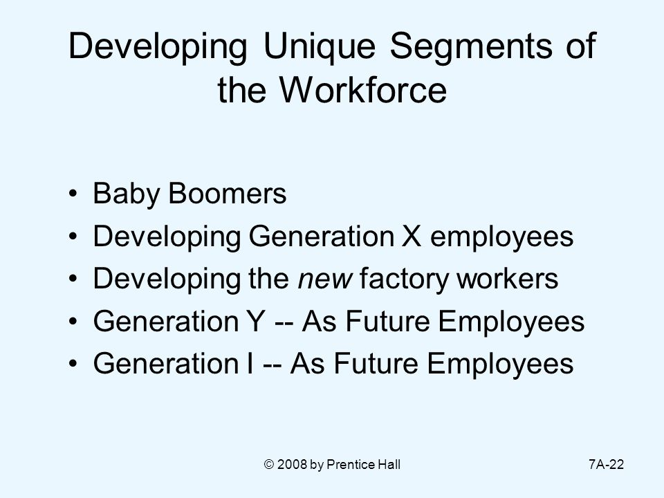 © 2008 by Prentice Hall7A-22 Developing Unique Segments of the Workforce Baby Boomers Developing Generation X employees Developing the new factory wor