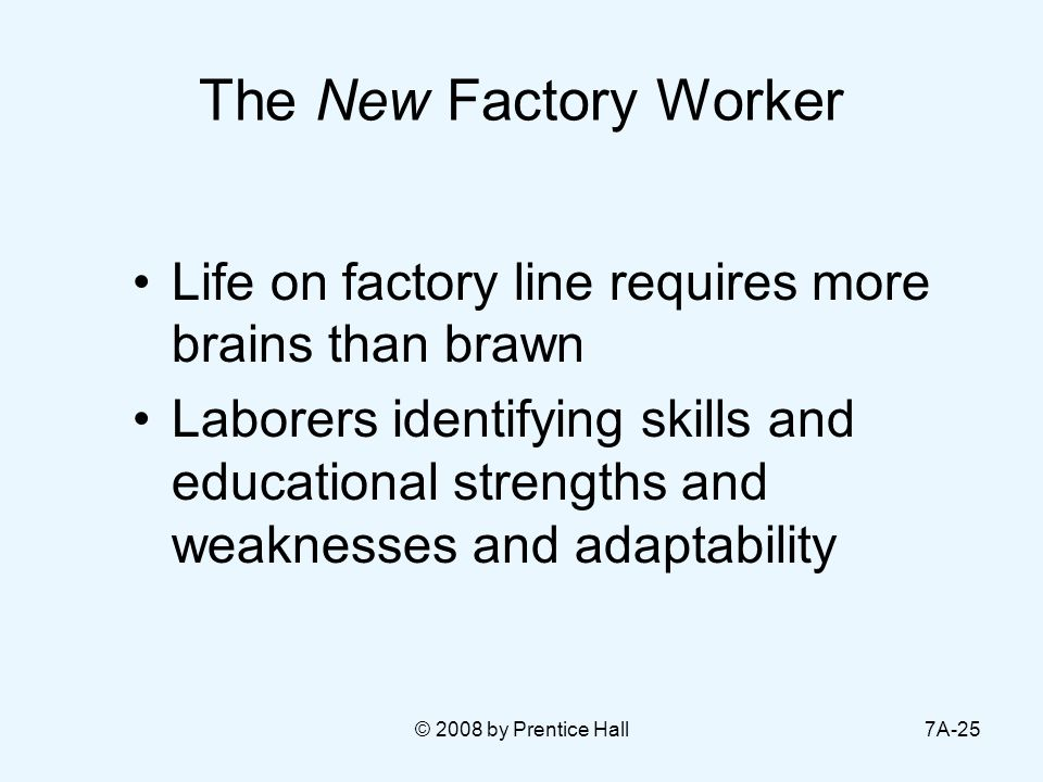 © 2008 by Prentice Hall7A-25 The New Factory Worker Life on factory line requires more brains than brawn Laborers identifying skills and educational s