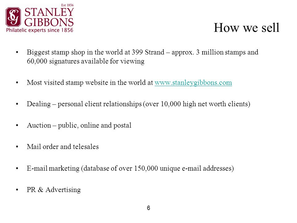 6 How we sell Biggest stamp shop in the world at 399 Strand – approx.