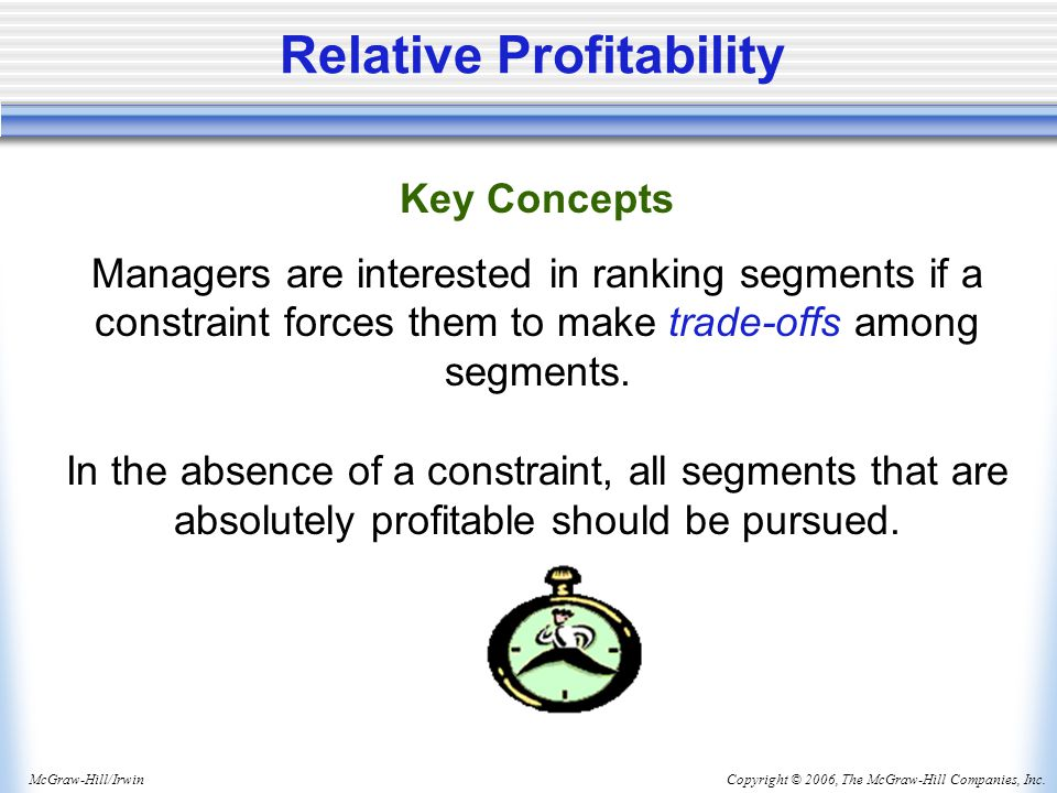 Copyright © 2006, The McGraw-Hill Companies, Inc.McGraw-Hill/Irwin Relative Profitability Key Concepts Managers are interested in ranking segments if a constraint forces them to make trade-offs among segments.