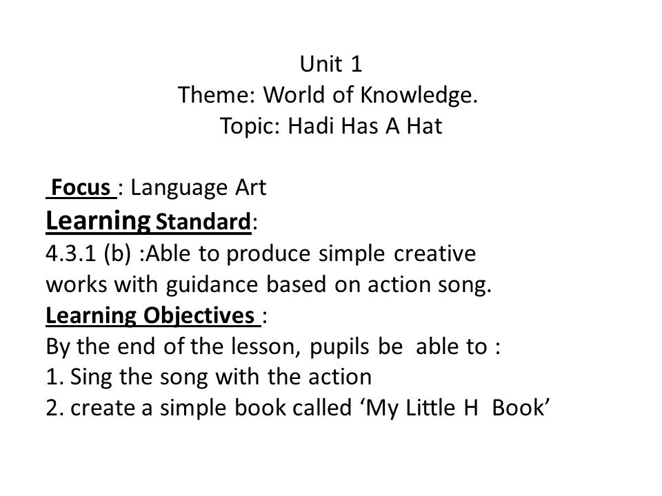 Unit 1 Theme: World of Knowledge. Topic: Hadi Has A Hat Focus : Language Art Learning Standard: 4.3.1 (b) :Able to produce simple creative works with