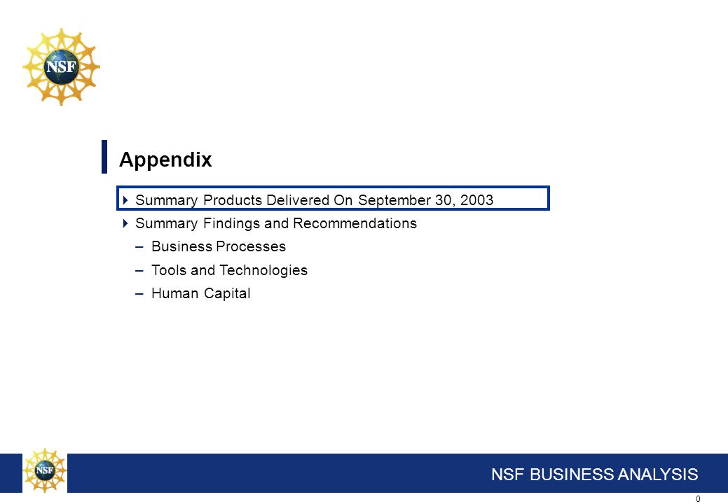 0 NSF BUSINESS ANALYSIS Appendix  Summary Products Delivered On September 30, 2003  Summary Findings and Recommendations –Business Processes –Tools
