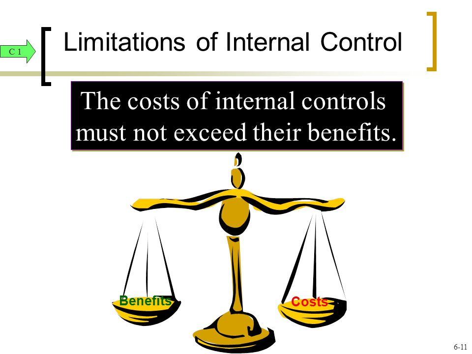 Limitations of Internal Control The costs of internal controls must not exceed their benefits. The costs of internal controls must not exceed their be