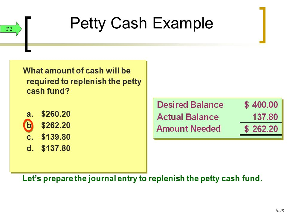 Petty Cash Example What amount of cash will be required to replenish the petty cash fund? a.$260.20 b.$262.20 c.$139.80 d.$137.80 What amount of cash