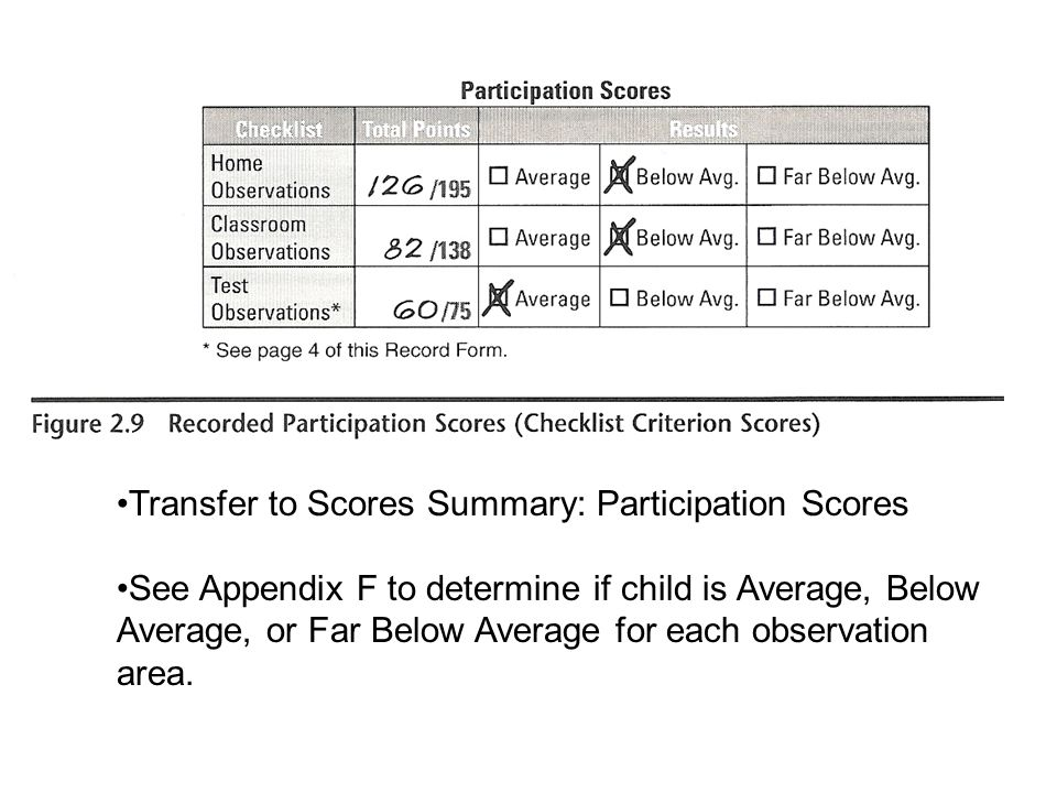 Transfer to Scores Summary: Participation Scores See Appendix F to determine if child is Average, Below Average, or Far Below Average for each observa
