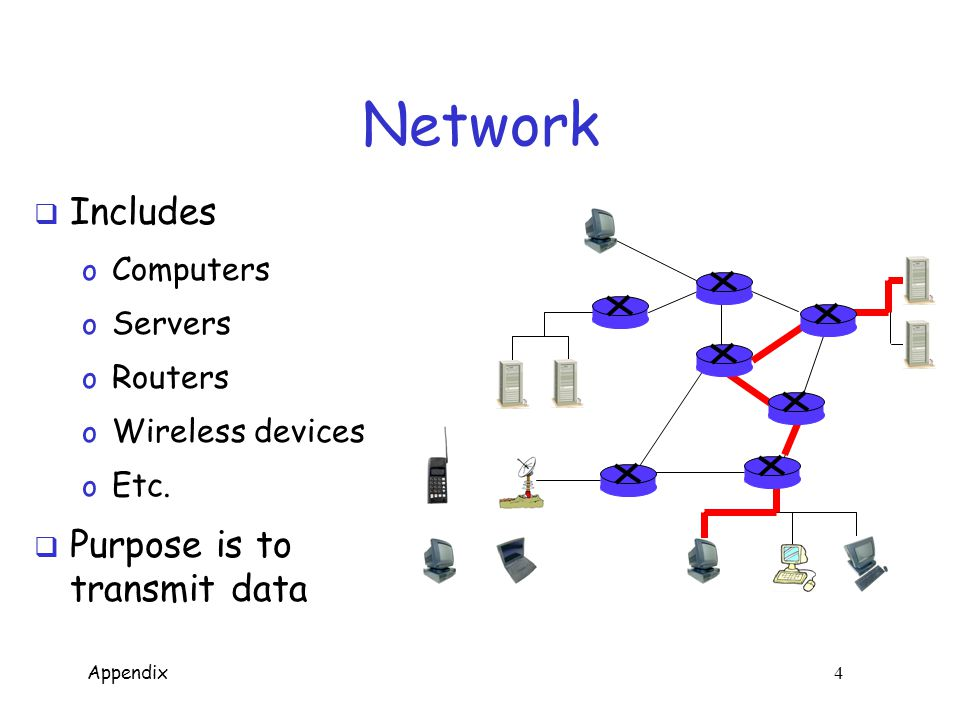 Appendix 4 Network  Includes o Computers o Servers o Routers o Wireless devices o Etc.