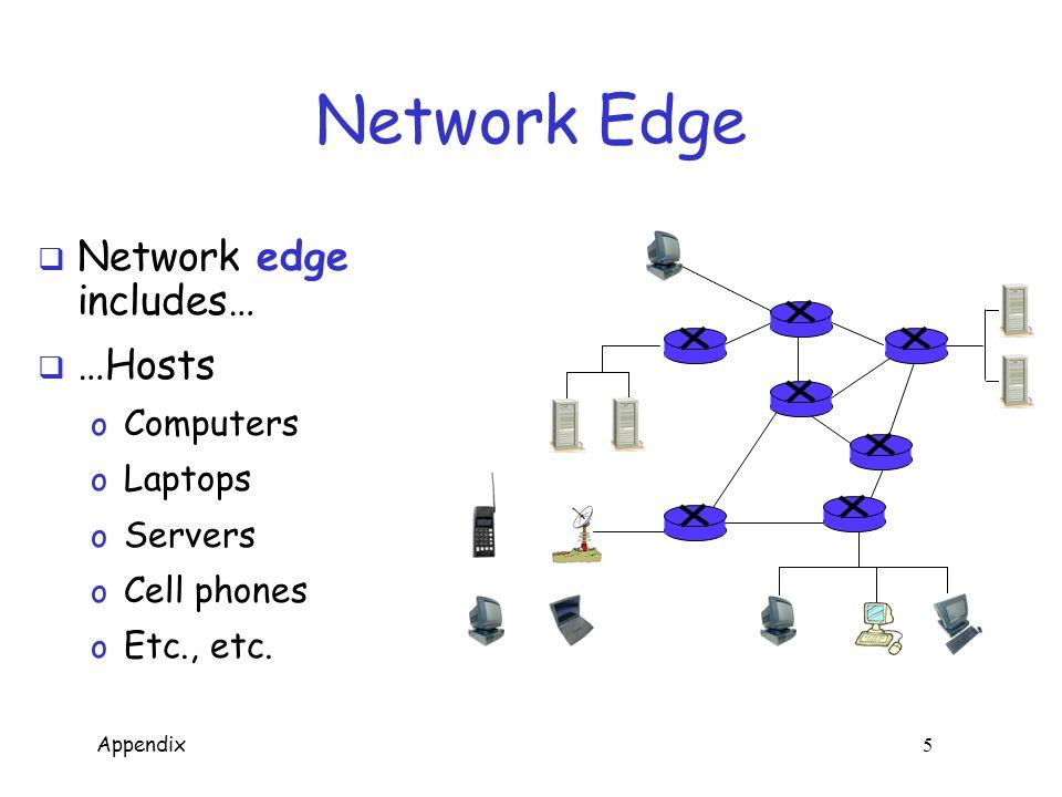 Appendix 5 Network Edge  Network edge includes…  …Hosts o Computers o Laptops o Servers o Cell phones o Etc., etc.