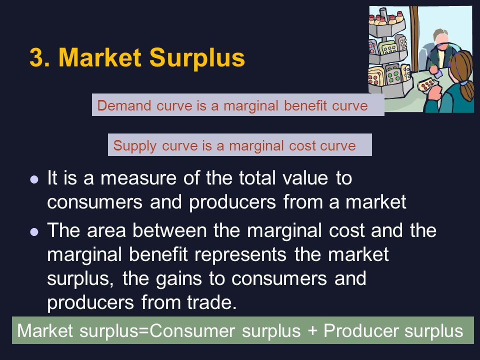 3. Market Surplus It is a measure of the total value to consumers and producers from a market The area between the marginal cost and the marginal bene