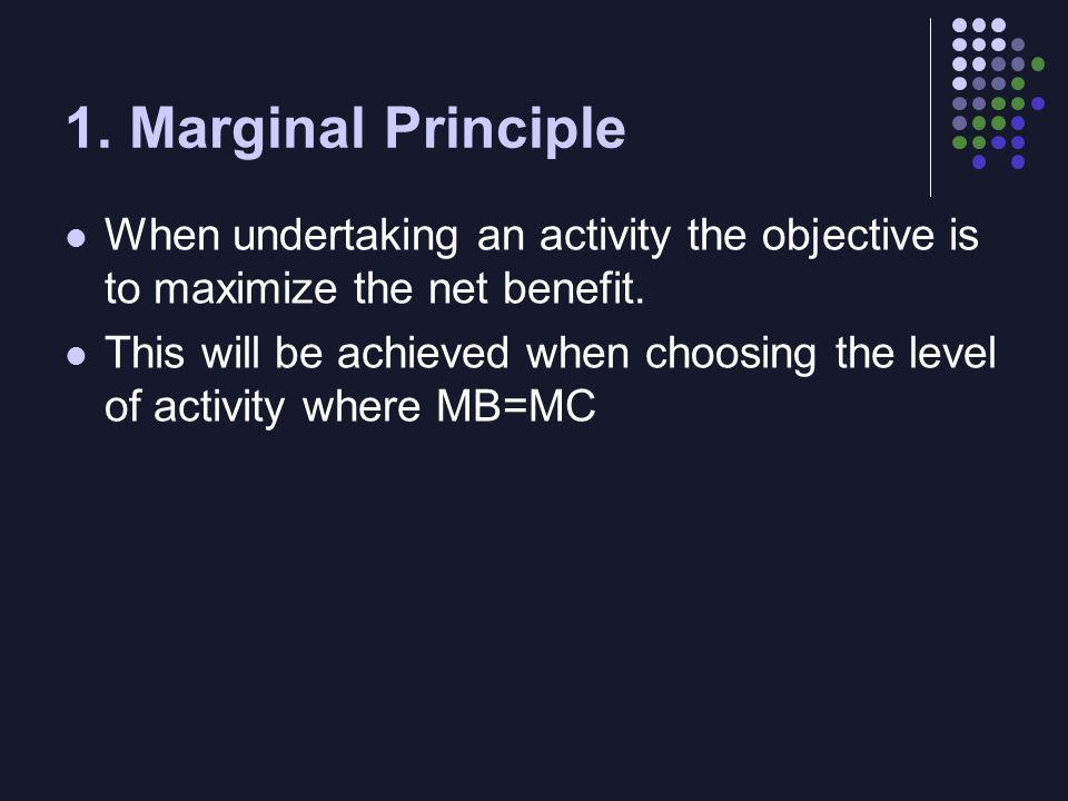 Total v. Net Benefits Benefit of a unit of the activity (MB) - Its cost (MC) Net Marginal Benefit