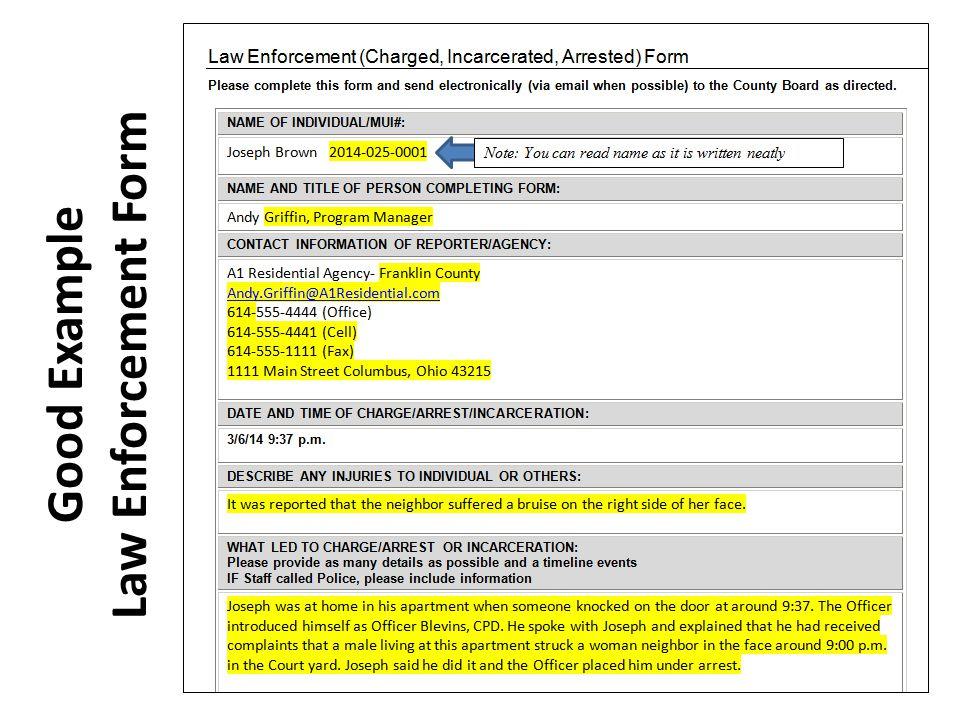 Good Example Law Enforcement Form