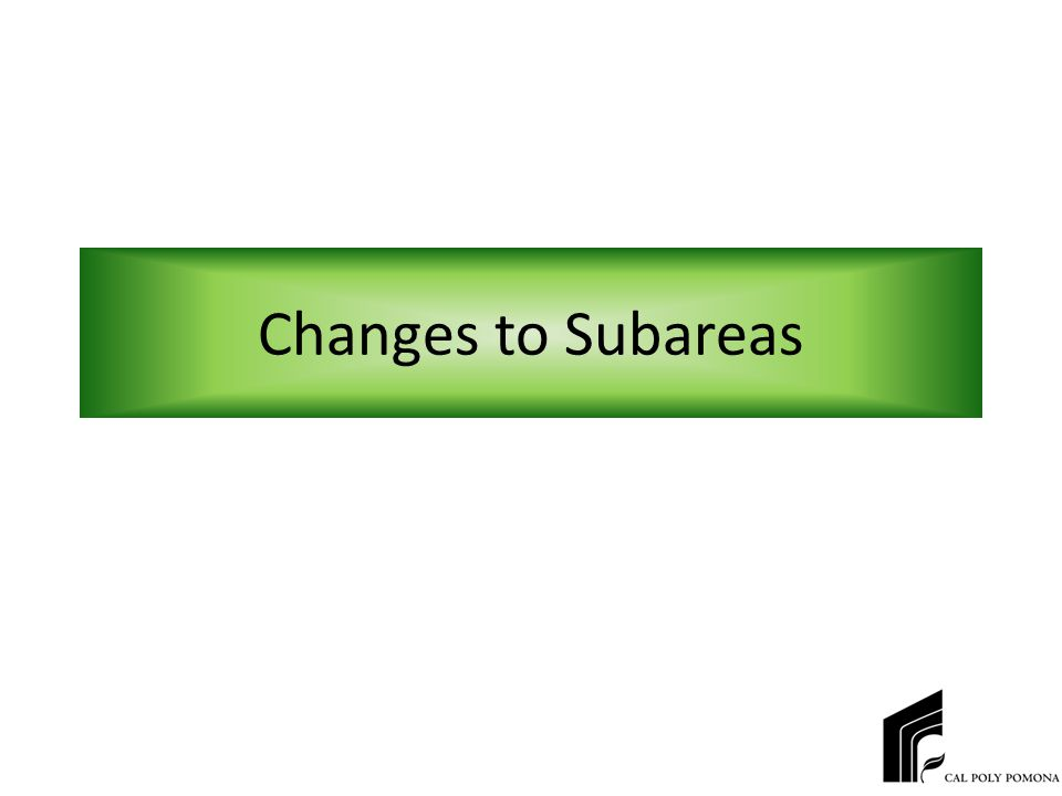 Changes to Subareas