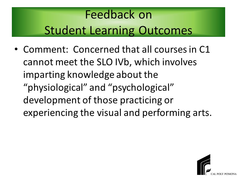 Feedback on Student Learning Outcomes Comment: Concerned that all courses in C1 cannot meet the SLO IVb, which involves imparting knowledge about the