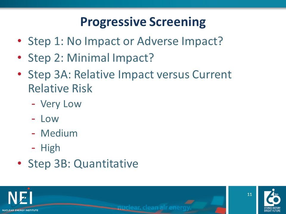 Progressive Screening Step 1: No Impact or Adverse Impact? Step 2: Minimal Impact? Step 3A: Relative Impact versus Current Relative Risk -Very Low -Lo