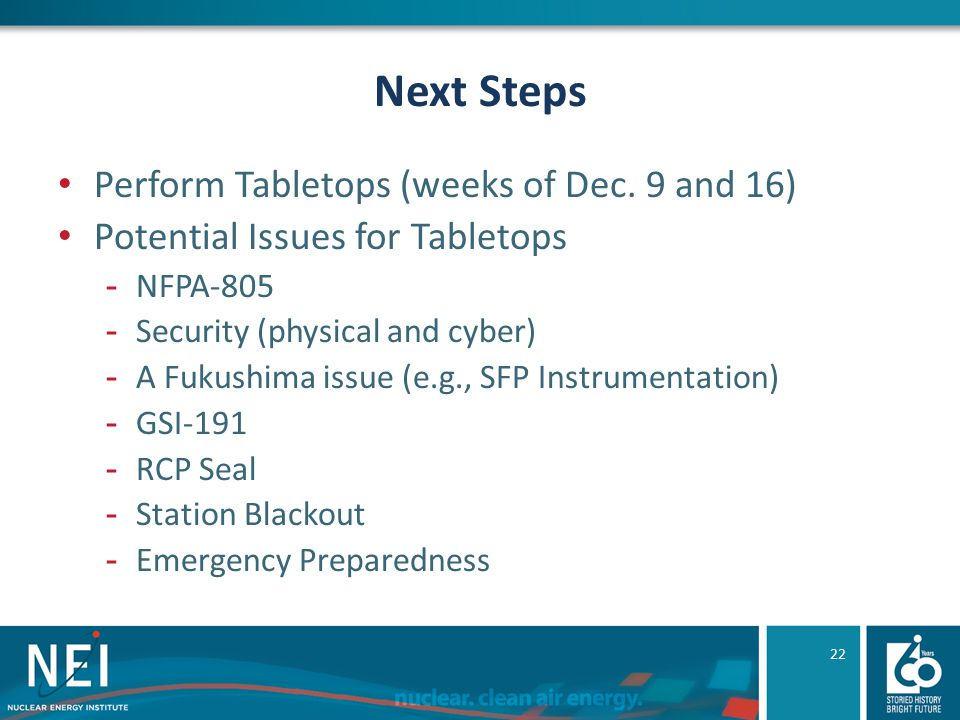 Next Steps Perform Tabletops (weeks of Dec.