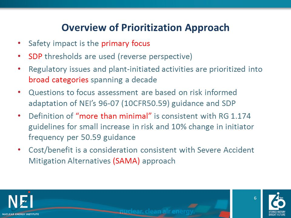 Overview of Prioritization Approach Safety impact is the primary focus SDP thresholds are used (reverse perspective) Regulatory issues and plant-initi