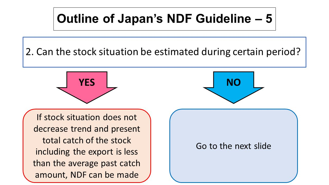 Outline of Japan's NDF Guideline – 5 2. Can the stock situation be estimated during certain period? YES If stock situation does not decrease trend and