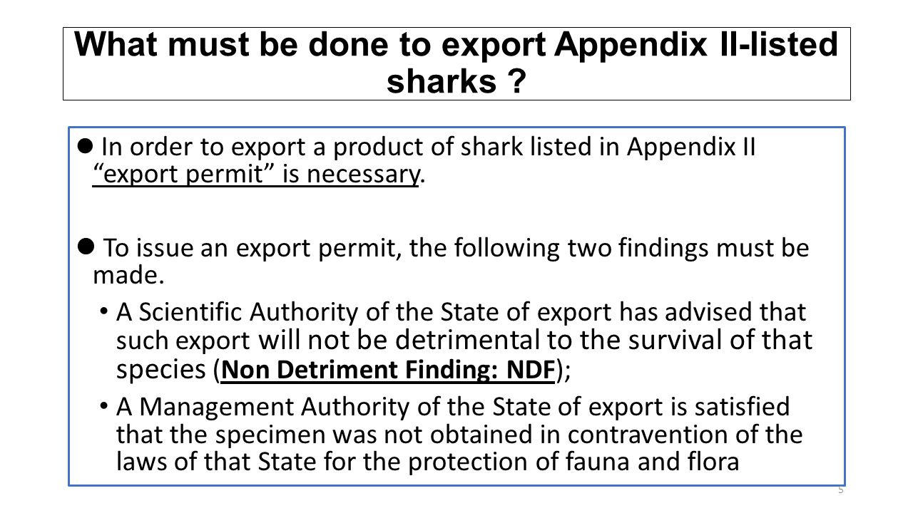 "What must be done to export Appendix II-listed sharks ? In order to export a product of shark listed in Appendix II ""export permit"" is necessary. To i"
