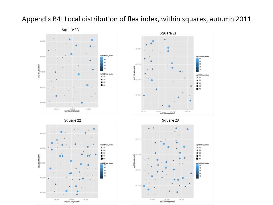Appendix B4: Local distribution of flea index, within squares, autumn 2011 Square 13 Square 21 Square 23Square 22