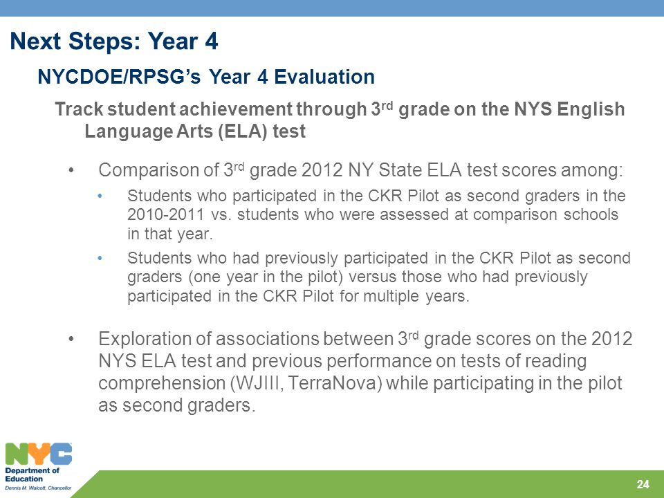 24 Comparison of 3 rd grade 2012 NY State ELA test scores among: Students who participated in the CKR Pilot as second graders in the 2010-2011 vs. stu