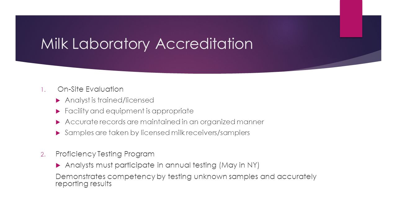 Milk Laboratory Accreditation 1.