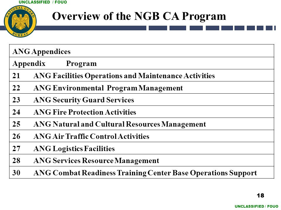 UNCLASSIFIED / FOUO ANG Appendices Appendix Program 21 ANG Facilities Operations and Maintenance Activities 22 ANG Environmental Program Management 23
