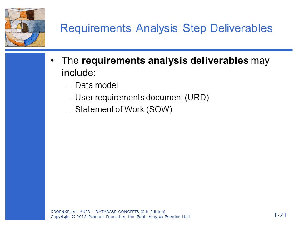 Requirements Analysis Step Deliverables The requirements analysis deliverables may include: –Data model –User requirements document (URD) –Statement of Work (SOW) KROENKE and AUER - DATABASE CONCEPTS (6th Edition) Copyright © 2013 Pearson Education, Inc.