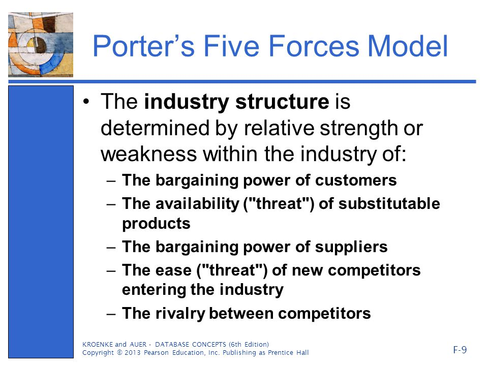 Porter's Five Forces Model The industry structure is determined by relative strength or weakness within the industry of: –The bargaining power of customers –The availability ( threat ) of substitutable products –The bargaining power of suppliers –The ease ( threat ) of new competitors entering the industry –The rivalry between competitors KROENKE and AUER - DATABASE CONCEPTS (6th Edition) Copyright © 2013 Pearson Education, Inc.