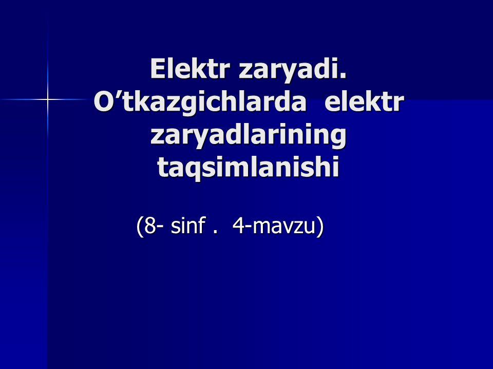 Elektr zaryadi. O'tkazgichlarda elektr zaryadlarining taqsimlanishi (8- sinf. 4-mavzu)