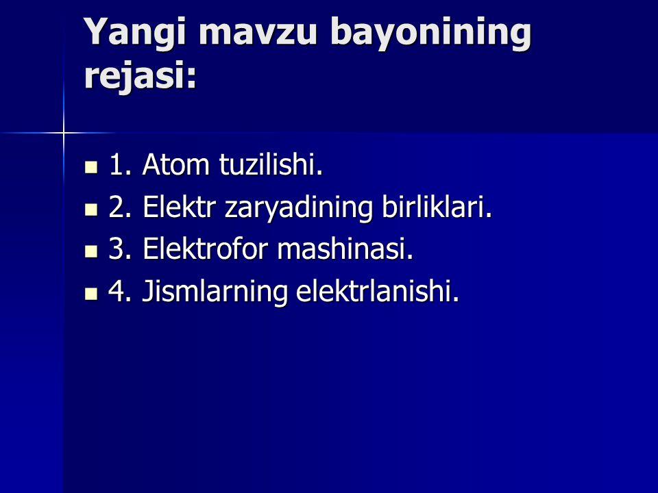 Yangi mаvzu bаyonining rеjаsi: 1. Atom tuzilishi. 1. Atom tuzilishi. 2. Elektr zaryadining birliklari. 2. Elektr zaryadining birliklari. 3. Elektrofor