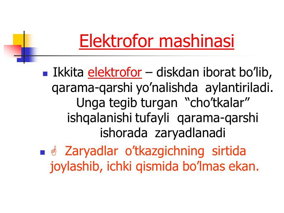 """Elektrofor mashinasi Ikkita elektrofor – diskdan iborat bo'lib, qarama-qarshi yo'nalishda aylantiriladi. Unga tegib turgan """"cho'tkalar"""" ishqalanishi t"""