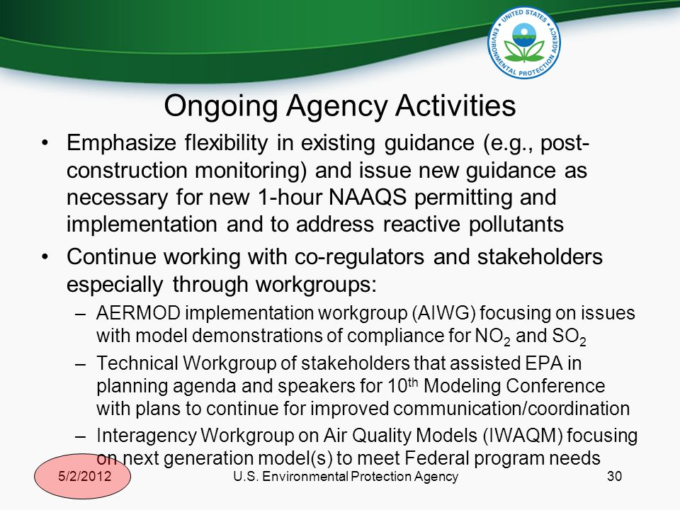 Ongoing Agency Activities Emphasize flexibility in existing guidance (e.g., post- construction monitoring) and issue new guidance as necessary for new 1-hour NAAQS permitting and implementation and to address reactive pollutants Continue working with co-regulators and stakeholders especially through workgroups: –AERMOD implementation workgroup (AIWG) focusing on issues with model demonstrations of compliance for NO 2 and SO 2 –Technical Workgroup of stakeholders that assisted EPA in planning agenda and speakers for 10 th Modeling Conference with plans to continue for improved communication/coordination –Interagency Workgroup on Air Quality Models (IWAQM) focusing on next generation model(s) to meet Federal program needs 305/2/2012U.S.