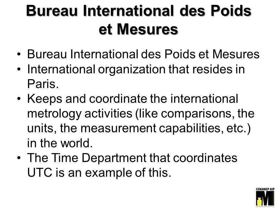 Bureau International des Poids et Mesures International organization that resides in Paris.