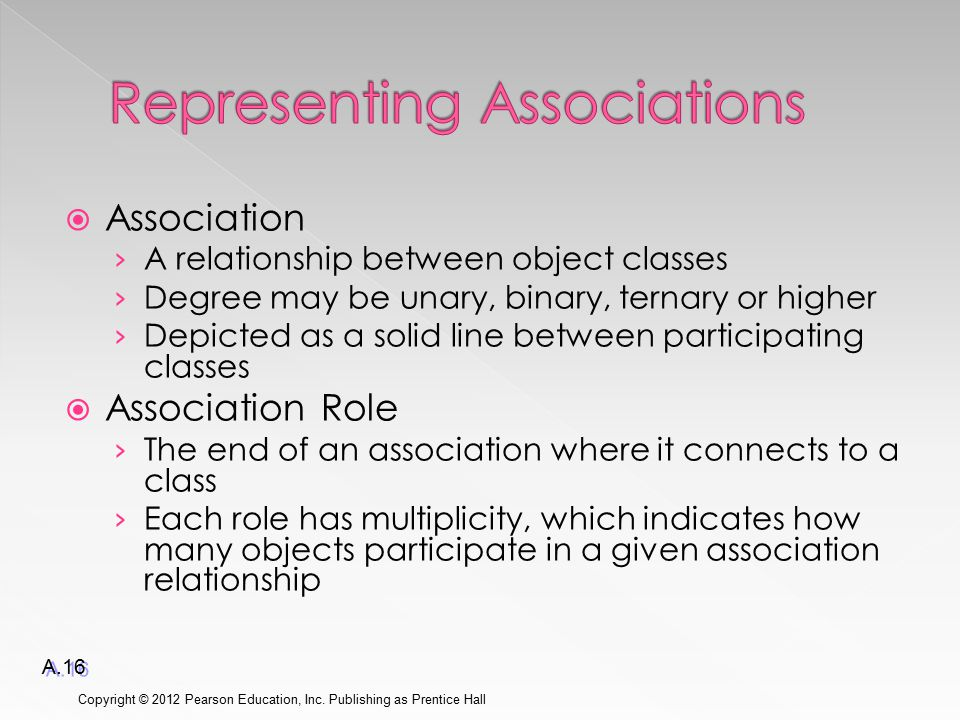  Association › A relationship between object classes › Degree may be unary, binary, ternary or higher › Depicted as a solid line between participating classes  Association Role › The end of an association where it connects to a class › Each role has multiplicity, which indicates how many objects participate in a given association relationship Copyright © 2012 Pearson Education, Inc.