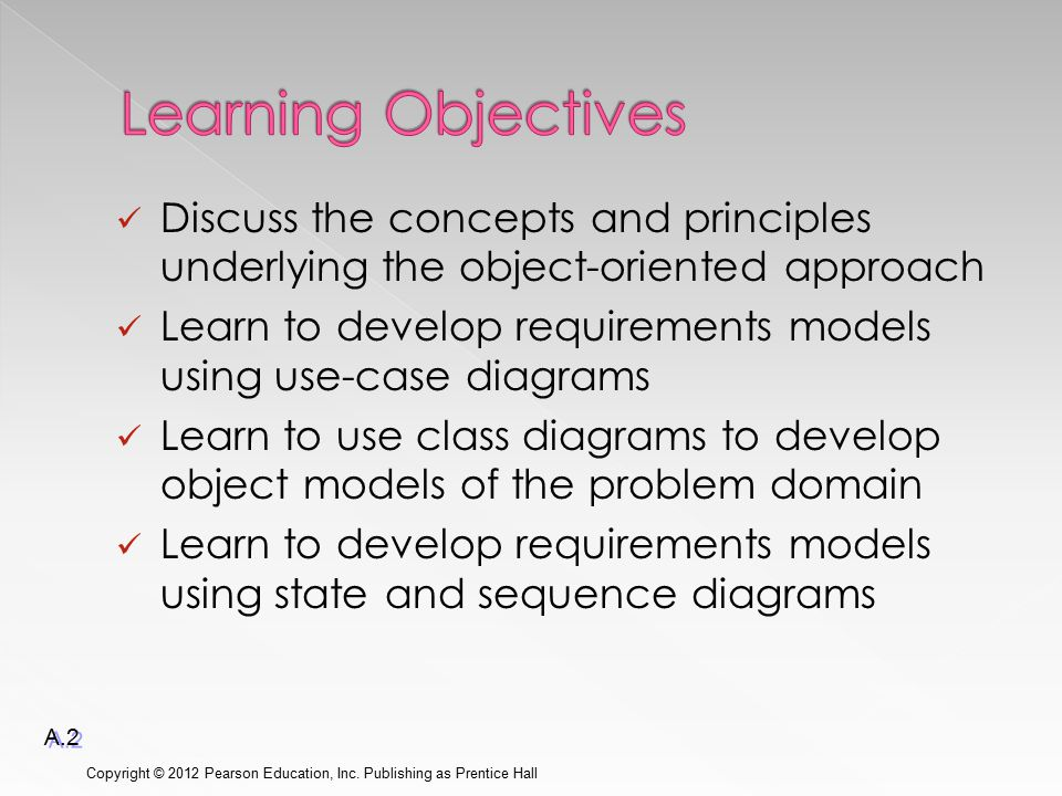 Discuss the concepts and principles underlying the object-oriented approach Learn to develop requirements models using use-case diagrams Learn to use class diagrams to develop object models of the problem domain Learn to develop requirements models using state and sequence diagrams Copyright © 2012 Pearson Education, Inc.
