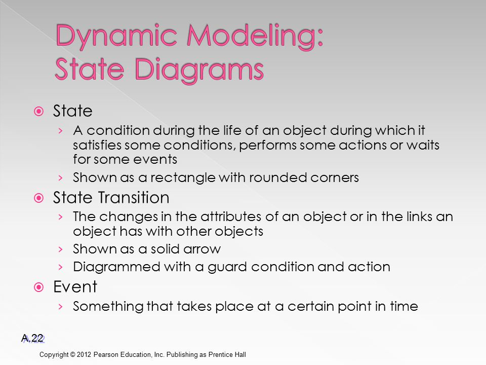  State › A condition during the life of an object during which it satisfies some conditions, performs some actions or waits for some events › Shown as a rectangle with rounded corners  State Transition › The changes in the attributes of an object or in the links an object has with other objects › Shown as a solid arrow › Diagrammed with a guard condition and action  Event › Something that takes place at a certain point in time Copyright © 2012 Pearson Education, Inc.