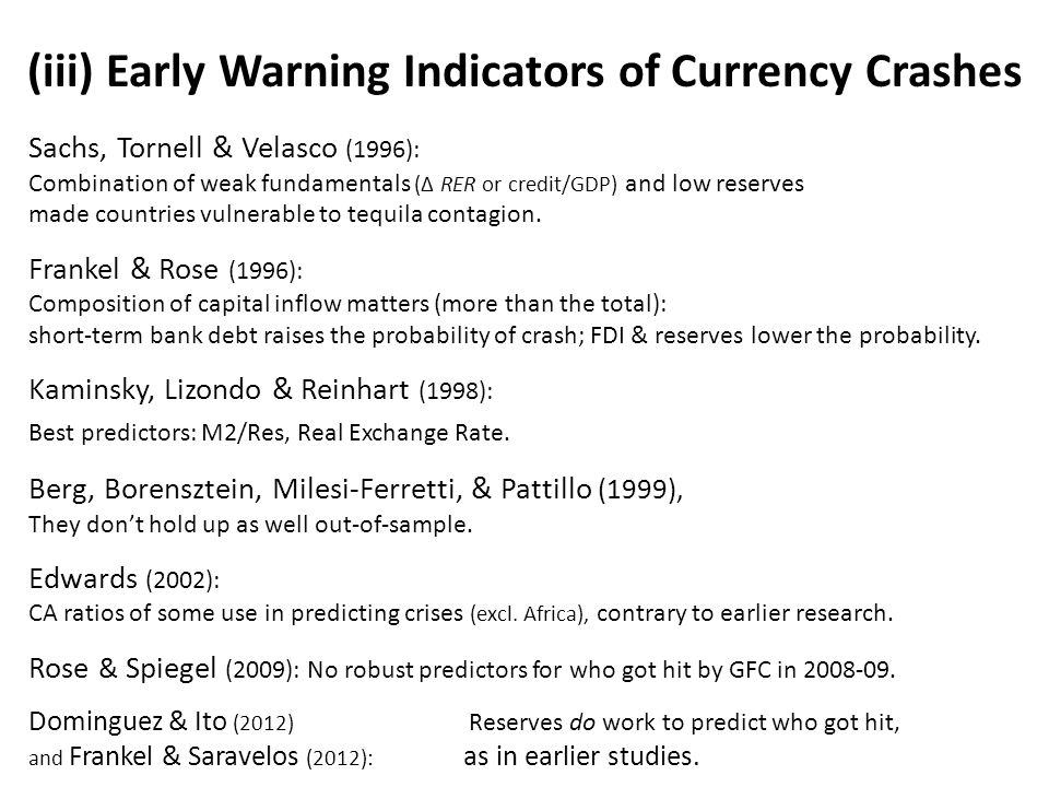 (iii) Early Warning Indicators of Currency Crashes Sachs, Tornell & Velasco (1996): Combination of weak fundamentals (Δ RER or credit/GDP) and low reserves made countries vulnerable to tequila contagion.