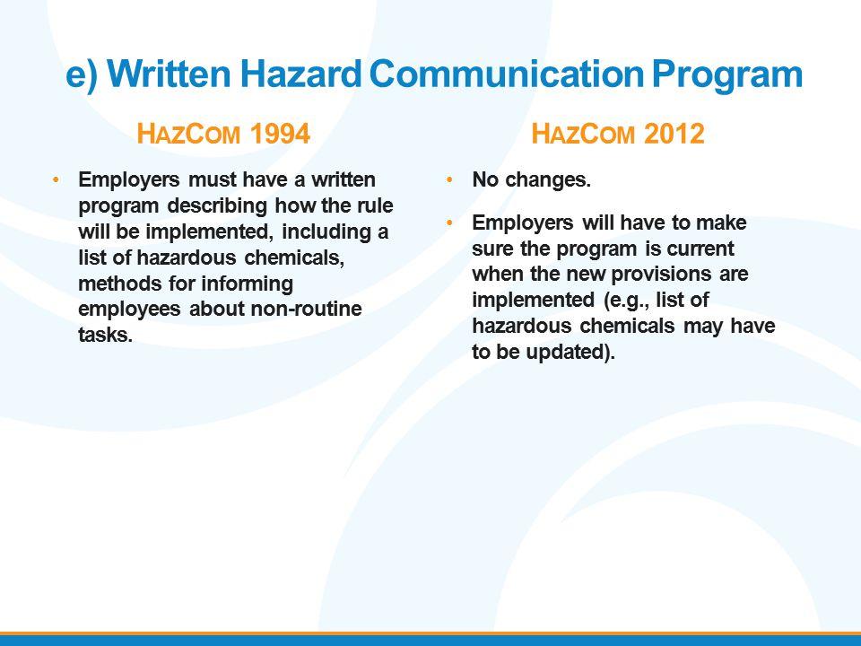 e) Written Hazard Communication Program H AZ C OM 1994 Employers must have a written program describing how the rule will be implemented, including a