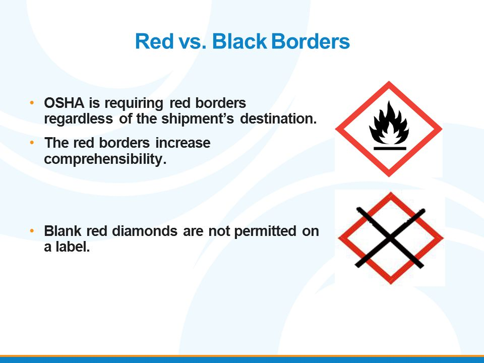 OSHA is requiring red borders regardless of the shipment's destination. The red borders increase comprehensibility. Blank red diamonds are not permitt