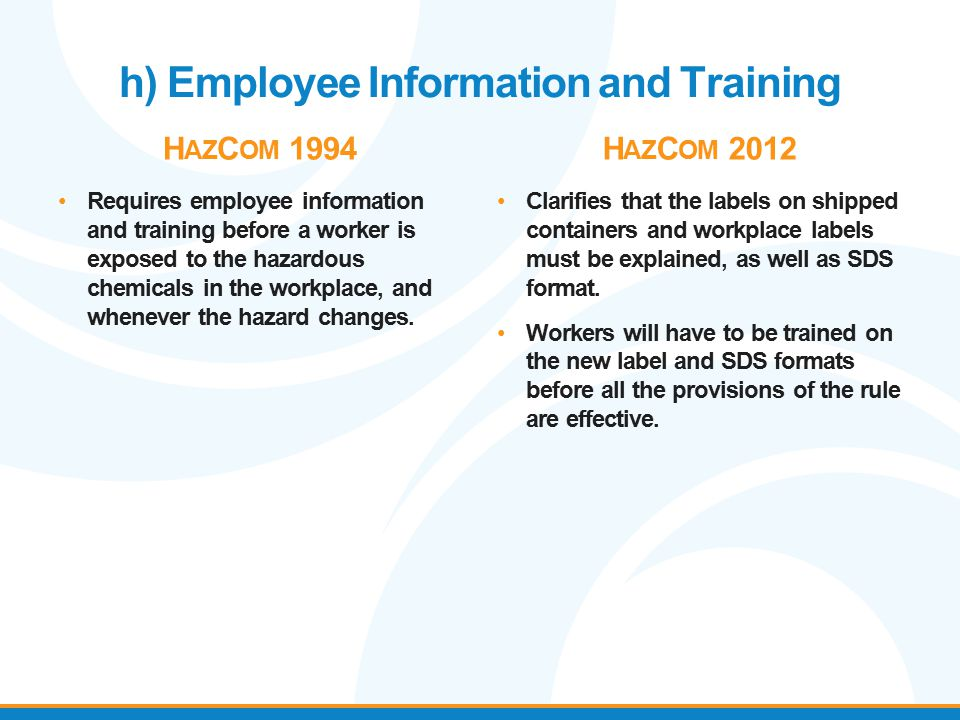 h) Employee Information and Training H AZ C OM 1994 Requires employee information and training before a worker is exposed to the hazardous chemicals i