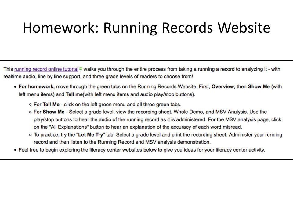 Homework: Running Records Website