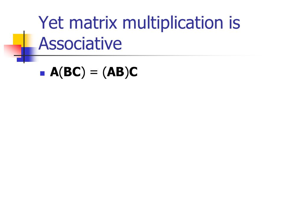 Matrix multiplication is not Commutative AB does not necessarily equal BA (BA may even be an impossible operation)