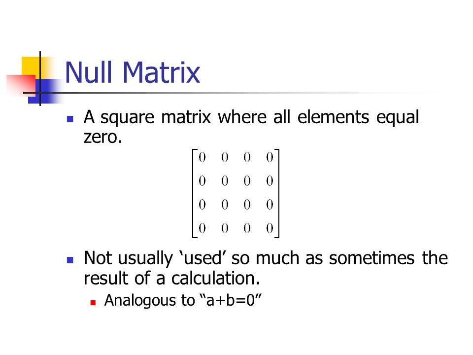 Identity Matrix The identity matrix I is a diagonal matrix where the diagonal elements all equal one. It is used in a fashion analogous to multiplying